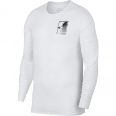 T Shirt Nike Court Logo Dry Longues Manches Blanc Hiver 2017