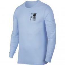 T Shirt Nike Court Logo Dry Longues Manches Bleu Clair Hiver 2017