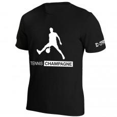 T Shirt Extreme-Tennis Coton Noir Tennis Champagne