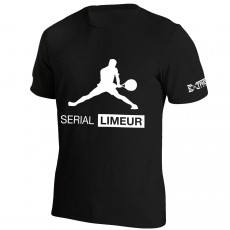 T Shirt Extreme-Tennis Coton Noir Serial Limeur Illustration