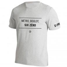 T Shirt Extreme-Tennis Coton Gris Métro, boulot, Six Zéro