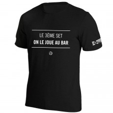 T Shirt Extreme-Tennis Coton Noir Le 3eme set on le joue au bar