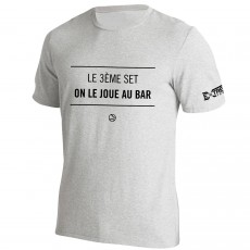 T Shirt Extreme-Tennis Coton Gris Le 3eme set on le joue au bar