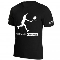 T Shirt Extreme-Tennis Coton Noir Chip And Charge Illustration