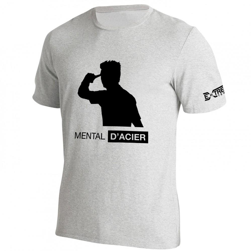 T Shirt Extreme-Tennis Coton Gris Mental D'acier