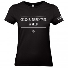 T Shirt Extreme-Tennis Femme Coton Noir Tu rentres à vélo