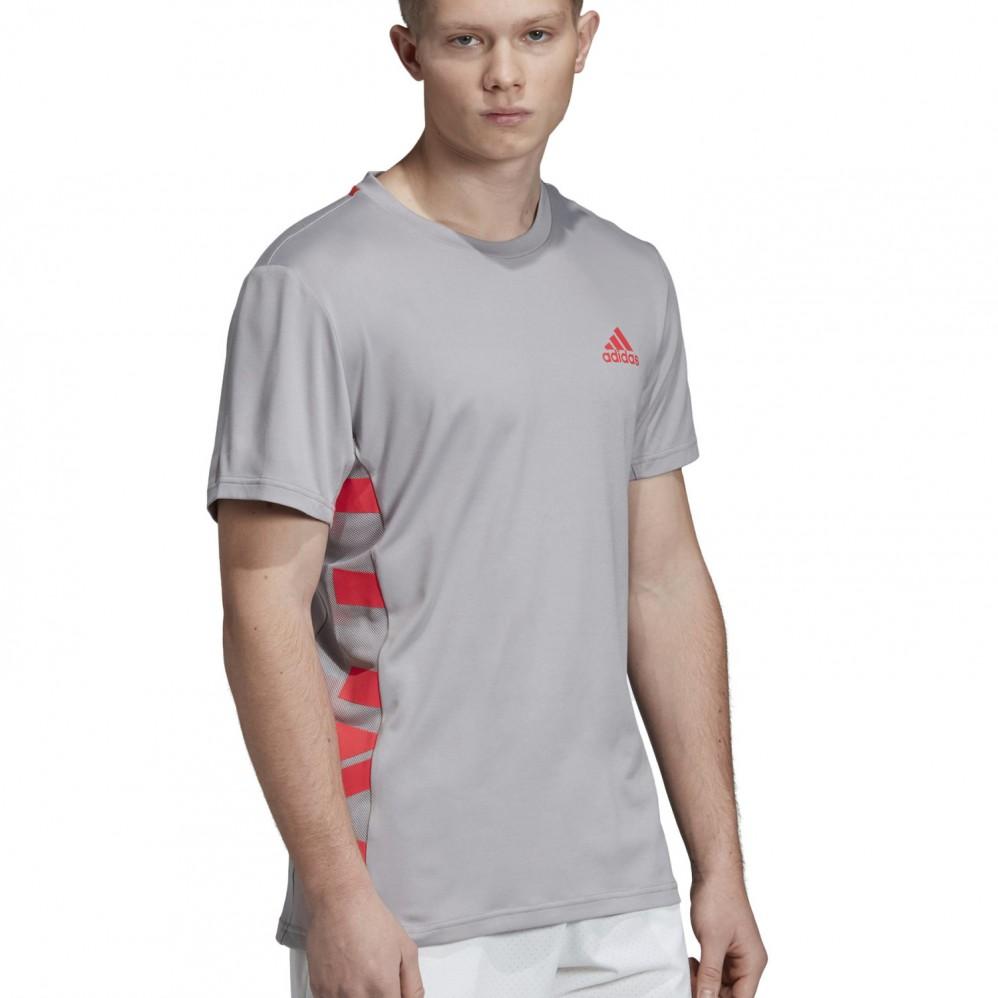 T Shirt de Tennis Adidas Escouade Gris Printemps Été 2019