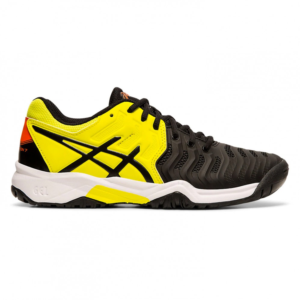 Chaussure Asics Gel Resolution 7 GS Junior Black Sour Yuzu FW19