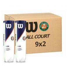 Carton de 9 Bipack de 4 balles Wilson Roland Garros All Court