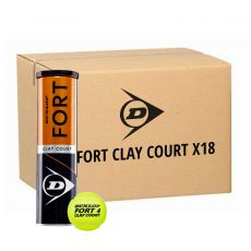 Box 18 cans of 4 Dunlop Fort Clay Court balls