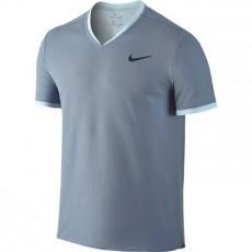 T Shirt Nike Roger Federer Col V Gris Bleu Hiver 2016