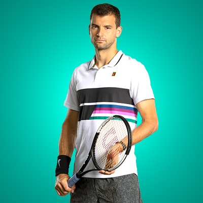 All equipment of Grigor Dimitrov ! racquet Polo Short shoes
