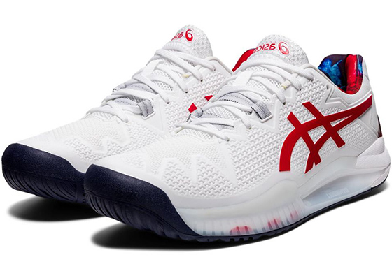 Asics Gel Resolution 8 white and red tennis shoes