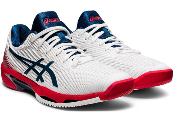 Asics Gel Solution Speed red, white and blue tennis shoes