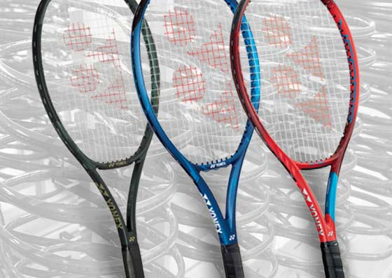 tennis rackets from the different ranges of the Yonex brand